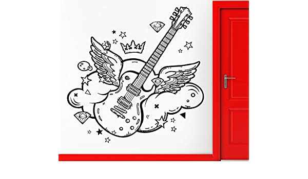 Tapa de pared de vinilo guitarra con alas Pop Rock decoración casebomb (Z2447Extralarge): Amazon.es: Hogar