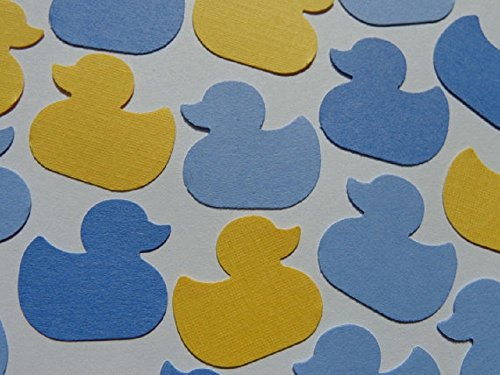 Yellow and Mixed Blue Duck Paper Confetti - Yellow Ducky Baby Shower - Rubber Ducky Theme Baby Sprinkle Baby Boy Shower Table Scatter (150 Pieces) (Rubber Ducky Baby Shower Theme)