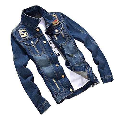 Jeans Slim Lunga Jacket Biker Cappotto 7 Giacca Manica Uomo A Di Denim Fit Ixqv4wWUz