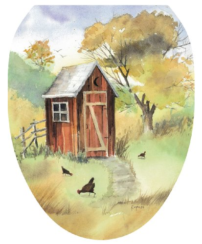 Toilet Tattoos TT-JK01-O Outhouse Watercolor Decorative Applique for Toilet Lid, Elongated (Outhouse Bathroom Toilet)