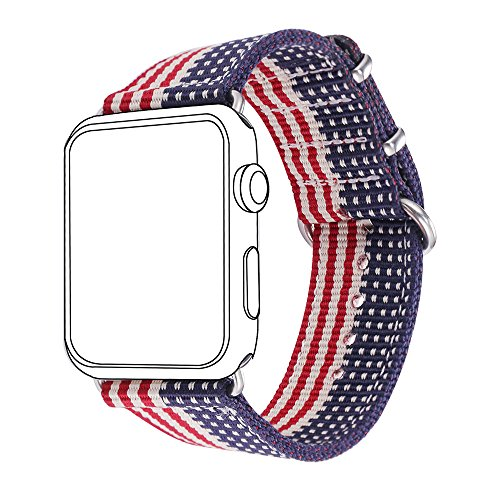 Bandmax Nylon Band Compatible Apple Watch 38MM/40MM, American Flag Nylon Fabrics Replacement Strap Accessories Compatible iWatch Series4/3/2/1 Mix Stainless Steel Classic Buckle(The Stars&Stripes)