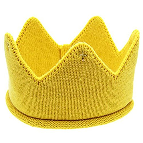 Braceus Newborn Toddler Baby Unisex Sweet Soft Knit Crown Hat Cap Headwear (Yellow)
