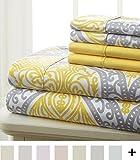 Spirit Linen Hotel 5Th Ave Prestige Home Collection 6 Piece Sheet Set, King, Grey Yellow Medallion