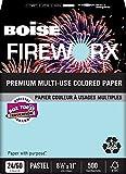 BOISE FIREWORX PREMIUM MULTI-USE COLORED PAPER, 8 1/2'' x 11'', Letter, Bottle-Rocket Blue, 24 lb., 5000 Sheets/Carton, 40 Cartons/Pallet