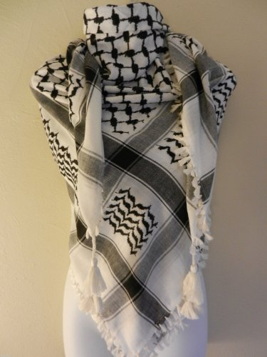 Black Palestine Shemagh With Tassels Arab Head Scarf Authentic LT-WTH