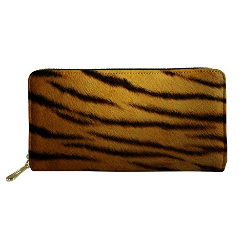 CHAQLIN 3D Tiger Print Long Leather Card Holder Purse Womens Mens Zipper Clutch Wallet