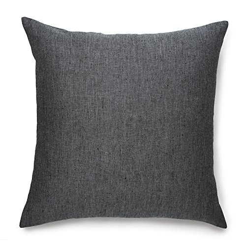 Solino Home Linen Pillow Cover – 20 x 20 Inch, 100% European Flax Throw Pillow Case Athena – Decorative Pillow Case, Slate