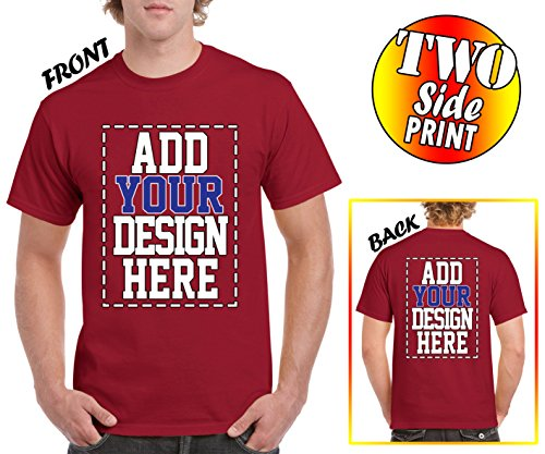 Custom 2 Sided T-Shirts - Design Your OWN Shirt - Front and Back Printing on Shirts - Add Your Image Photo Logo Text Number Cardinal Red ()