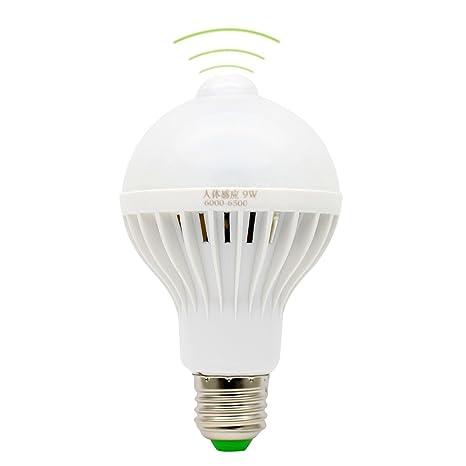 E27 Iluminación 9W PIR Bulbo Llevado Sensor de Movimiento Iluminación de Seguridad Blanco Frío 6500K Sensor