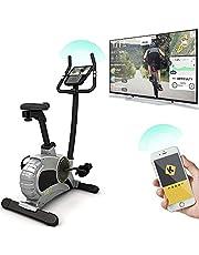 Vélo d'Appartement TOUR 5.0 Bluefin Fitness | Équipement de Sport à la Maison | Machine d'Entraînement | Résistance Magnétique | Écran LCD | Bluetooth | Appli Smartphone | Noir & Gris Argenté