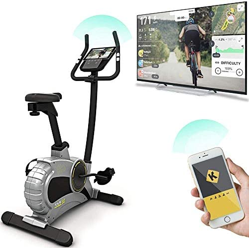 Bluefin Fitness TOUR 5.0 Exercise Bike Home Gym Equipment Exercise Machine Kinomap Live Video Streaming Video Coaching Training Bluetooth Smartphone App Black Grey Silver