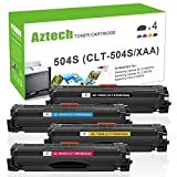 Aztech 4 Pack CLT-K504S Replaces for Samsung CLT-K504S CLT-C504S CLT-Y504S CLT-M504S Black Cyan Yellow Magenta Toner Cartridges For Samsung CLX-4195FW CLP-415NW Xpress SL-C1860FW SL-C1810W Printer