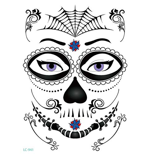 Inverlee 1 Sheet Inverlee Waterproof Facial Temporary Tattoos Day of The Dead Sugar Skull Stickers Halloween Party Terror Scar Makeup Tattoo Stickers (D) -