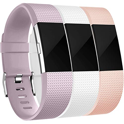 Wepro Bands Replacement Compatible with Fitbit Charge 2 for Women Men Small, 3 Pack Sports Watch Band Strap Wristband Compatible with Fitbit Charge2 HR Fitness Tracker, Blush Pink/Lavender/White