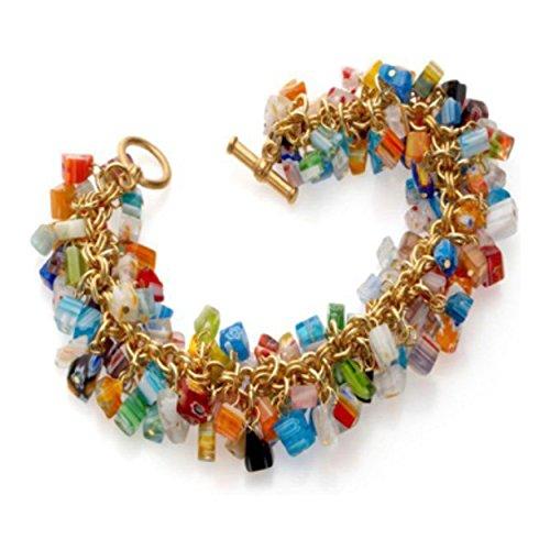 Millefiori Glass Beaded Bracelet - pricegems Cobalt Blue Orange Green Red