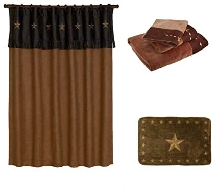 Amazon HIE Country Western Mocha Star Shower Curtain