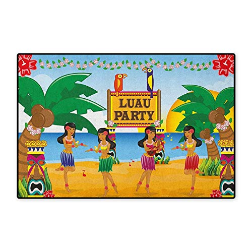 (Tiki Bar,Door Mats Area Rug,Hawaiian Luau Party in Funny Cartoon Style Dancers on Beach Festive Tradition,Door Mat Doorroom Mat with Non Slip,Multicolor,Size,24