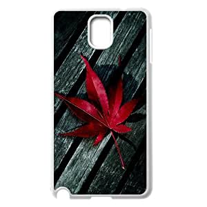 Dustin Red Maple Leaf on Wood Cases for Samsung Galaxy Note 3, with White