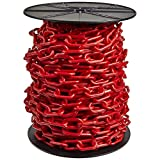 """Mr. Chain - 2"""" Heavy Duty Plastic Chain - Red - 100' on a Reel."""