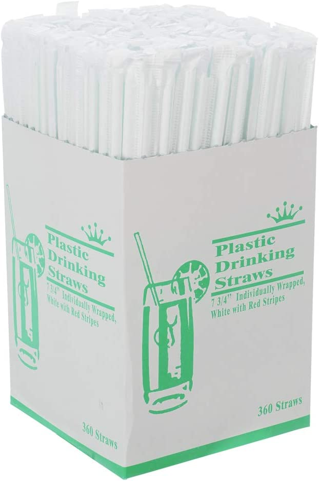 (Pack of 300) Plastic Drinking Straws – White with Red Stripes, Individually Wrapped, Food-Safe BPA Free – 7 3/4 Inches Long