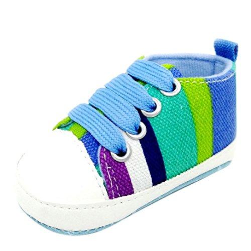 Ouneed® Krabbelschuhe , Baby Mädchen Jungen beschuht Turnschuh rutschfeste weiche alleinige Kleinkind bunte Segeltuch Schuhe Blau