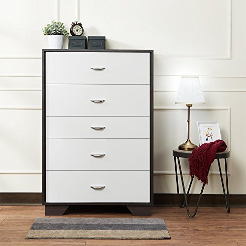 Major-Q Contemporary Styled 5 Drawer Dresser White Finish with Espresso (MQ-97368) ()