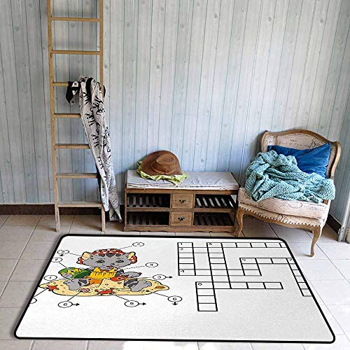 Door Rug Area Rug Word Search Puzzle Crossword Game for Children Cute Cat on Beach and Building Sand Castles Easy to Clean W47 xL71 Multicolor ()