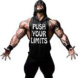 Gerlobal Mens Bodybuilding Stringer Hoodie Workout Fitness Gym Tank Top Black,Medium