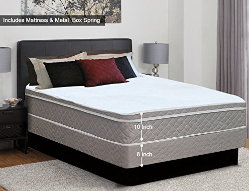 Continental Sleep 10-Inch Medium Plush Eurotop Pillowtop Innerspring Mattress and Traditional Box Spring/Foundation, Good For The Back, No Assembly Required Queen ()