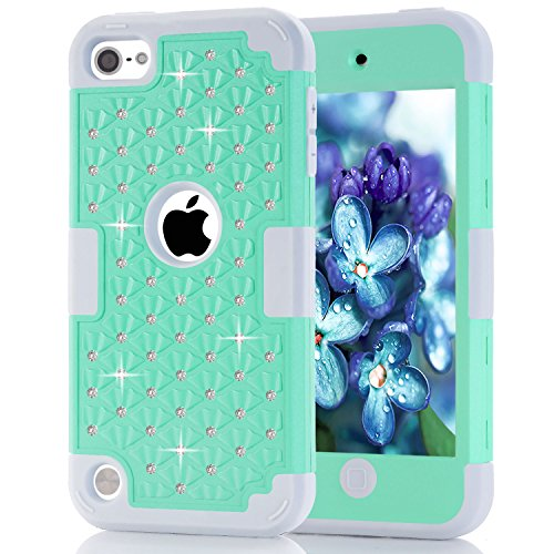 iPod Touch 5 6 Case, iPod Touch 5th/6th (2012/2015 Released) Generation, Easytop 3 in 1 Bling Hybrid Soft Silicone Interior and Hard PC Exterior Shield Slim Lightweight Protective Case (Mint ()