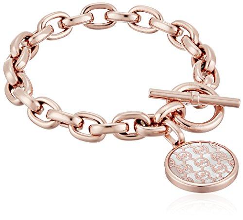 Michael Kors Logo Rose Gold-Tone and Crystal Charm Link Bracelet