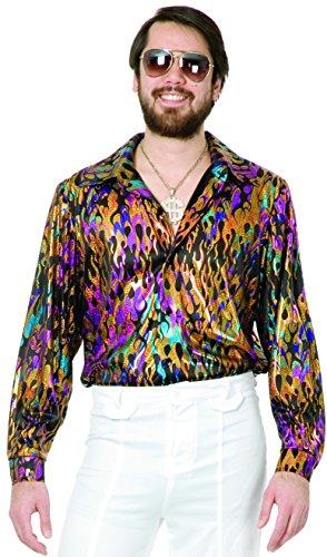Charades Mens 70s Metallic Super Hot Multi-Colored Flame Disco Shirt X-Small XS (1970s Disco Shirt)