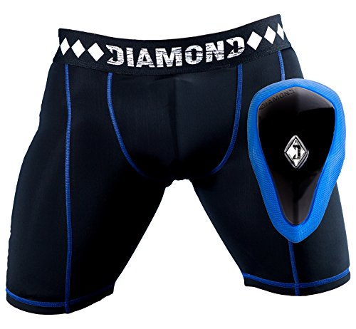 Athletic Cup Groin Protector & Compression Shorts System with Built-in Jock Strap, Medium