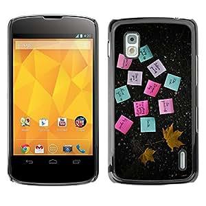 [Neutron-Star] Snap-on Series Teléfono Carcasa Funda Case Caso para LG Nexus 4 E960 [Notas Adhesivas Papel Hoja de arce del otoño]
