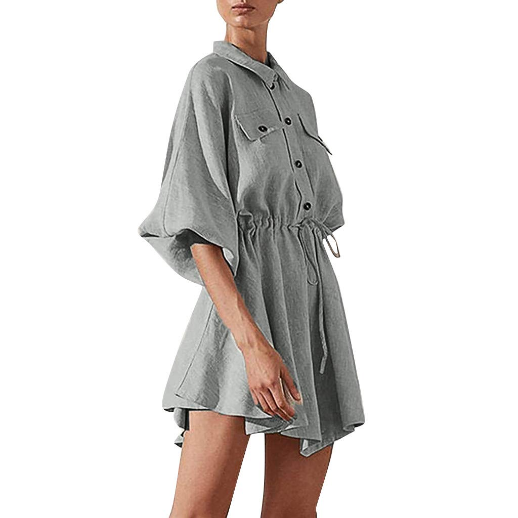 Women Lapel Pure Color Button Drawstring Bage Simple Mini Dress Solid Long Sleeves Gray