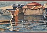 Row Boats in the River Shore Vintage Wallpaper Border Retro Design, Roll 15' x 7''