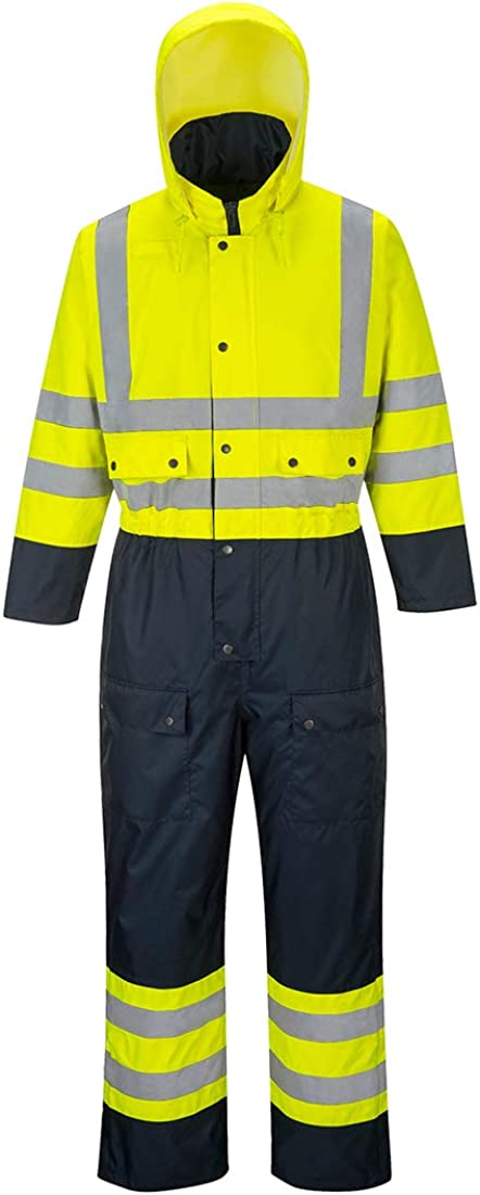 HI VIS Coverall Lined Hooded Overall Boilersuit Safety Workwear S 3XL S485