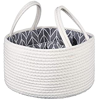 Cotton Rope Storage Baskets -Nursery Diaper Tote Bag | Portable Car Travel Organizer | Boy Girl Diaper Storage Bin for Changing Table | Baby Shower Gift Basket | Newborn Registry Must Haves