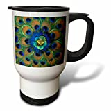 3dRose Natural Peacock Feather Patterns India-AS10 DFR0096-David R Frazier Travel Mug, 14-Ounce