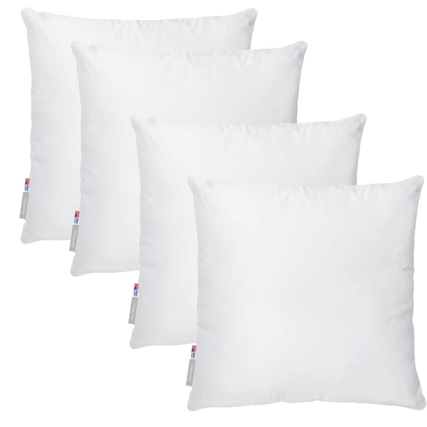 Pal Fabric Pack of 4 20x20 Soft Cotton Feel Microfiber Square Pillow Insert for Sham or Decorative Pillow Made in USA (20x20)