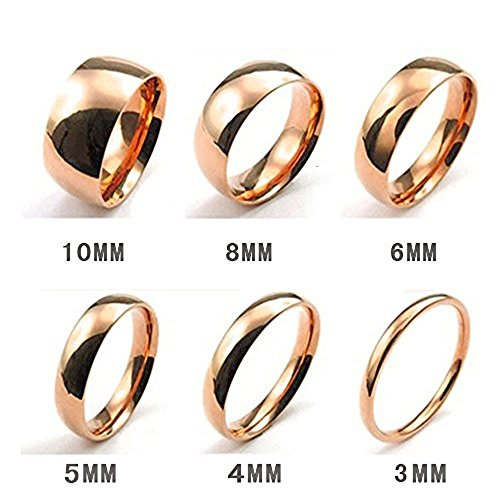 Stainless Steel 2mm 4mm 6mm 8mm 10mm Mens Ring Matte Finish Polished Wedding Engagement Band (#8, 10mm rose gold)