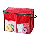 Juvale Gift Wrap Storage Container – Wrapping Paper Organizer Ideal for Storing Gift Accessories - Boxes, Tissue Paper, Gift Wrap, Gift Bag | Red, 18 x 10 x 14 Inches