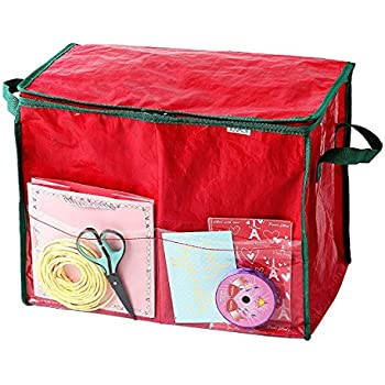 elf stor premium christmas 30 inch wrapping paper storage box with lid red home. Black Bedroom Furniture Sets. Home Design Ideas