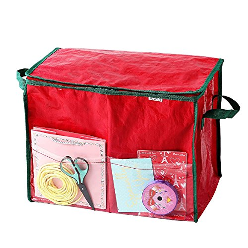 Gift Wrap Storage Container - Ideal for Storing Christmas Gift Accessories - Boxes, Tissue Paper, Gift Wrap, Gift Bags | Red, 18 x 10 - Bags Boxes Bows