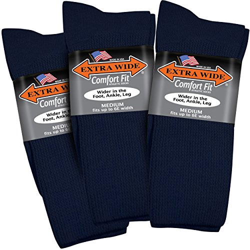 Extra Wide Comfort Fit Athletic Crew (Mid-Calf) Socks for Men - Navy - Size 8.5-11.5 (up to 6E wide) - ()