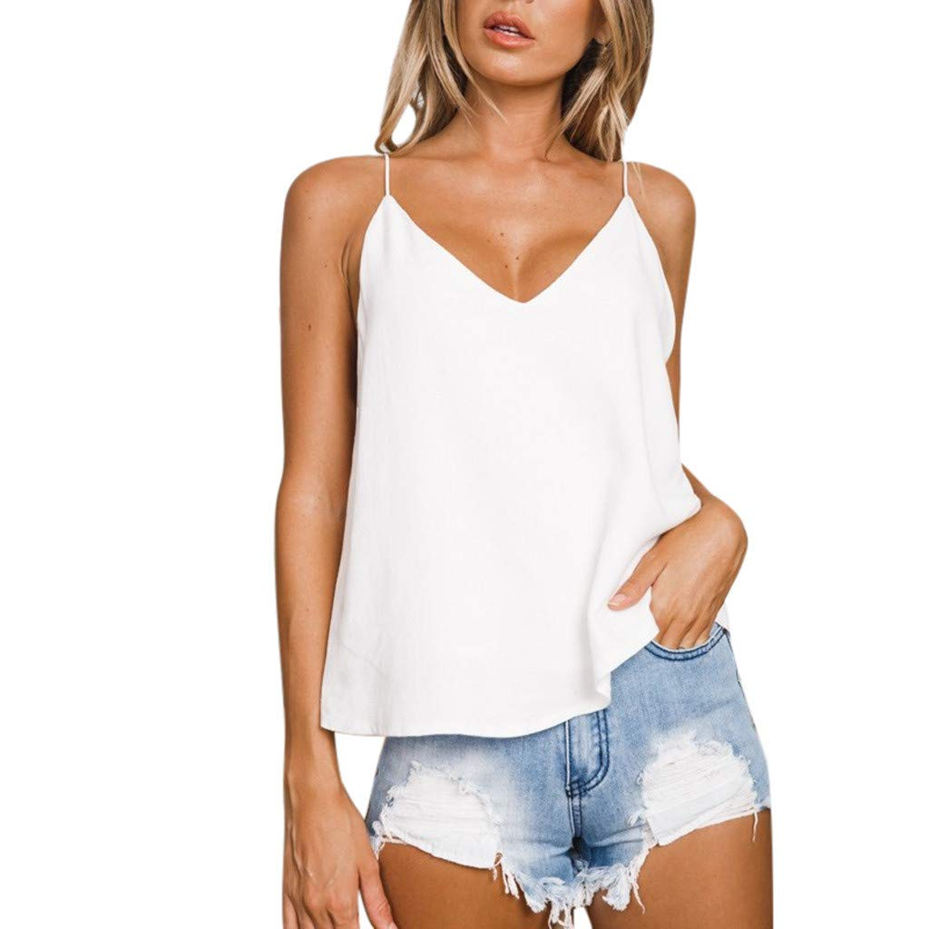 Winsummer Women Spaghetti Strap Tank Tops Backless Halter Cami Loose Workout Sports Yoga Shirts White