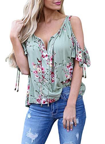 AlavQ Summer Short Sleeve Shirts for Women Casual V Neck Floral Print Cold Shoulder Tops Blouses Green Large -