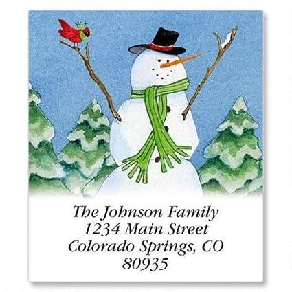 amazon com our fun snow family christmas square return address