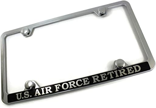 Chrome Stainless Steel License Plate Frame Laser etched US AIR FORCE RETIRED Au-TOMOTIVE GOLD INC