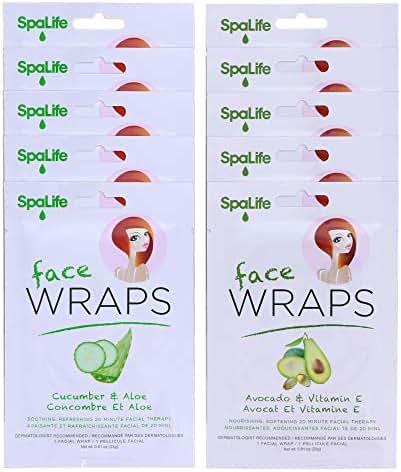 SpaLife Hydrating, Purifying, Anti-Aging, Detoxifying and Soothing Korean Beauty Facial Masks (10 Wraps Combo (Cucumber Aloe + Avocado Vitamin E))